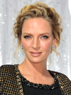 uma thurman hairstyles : Uma Thurman?s elegant, wavy updo creates a super- chic look .